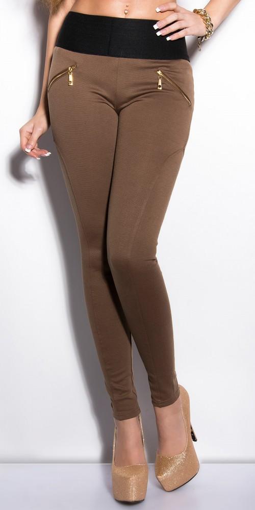 Sexy KouCla Treggings mit Zips und breitem Bund in braun