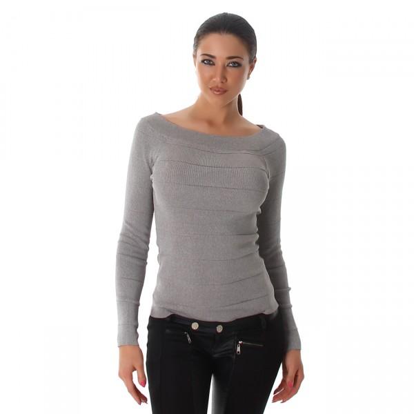 Süßer Pullover mit Carmenausschnitt in grau