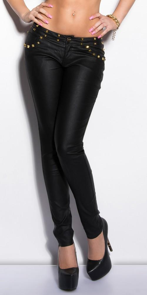 Sexy KouCla Hose in Lederlook mit Nieten in schwarz