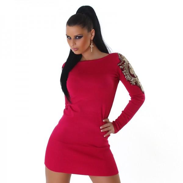 Sexy Feinstrick Strickkleid Minikleid mit Spitze an den Ärmeln in pink