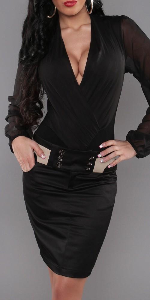 Sexy Pencilrock von KouCla mit Taschen und Knöpfen in schwarz