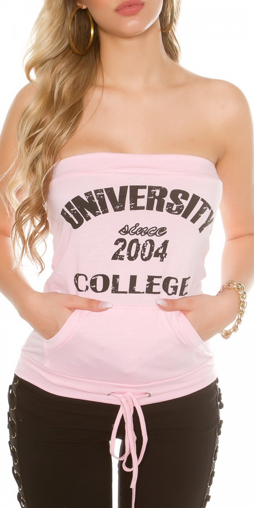 "Sexy KouCla Sweat Bandeautop ""University"" in rosa"