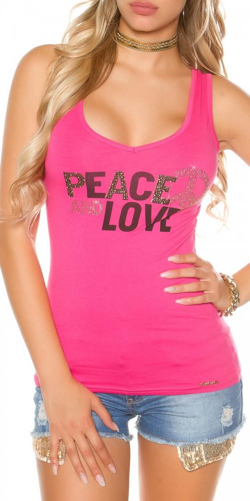 Trendy KouCla Tanktop Peace and Love mit Schleifen am Rücken in pink