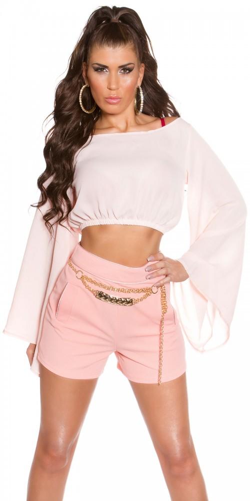 Sexy KouCla Chiffon Latina Crop Top Batärmel in rosa
