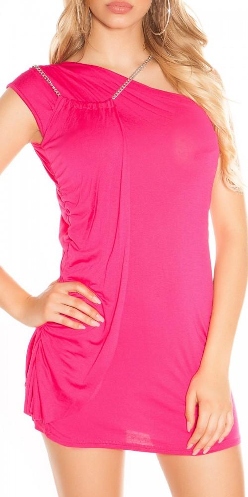 Sexy Minikleid One Shoulder asymmetrisch mit Ketten-Trägern in pink
