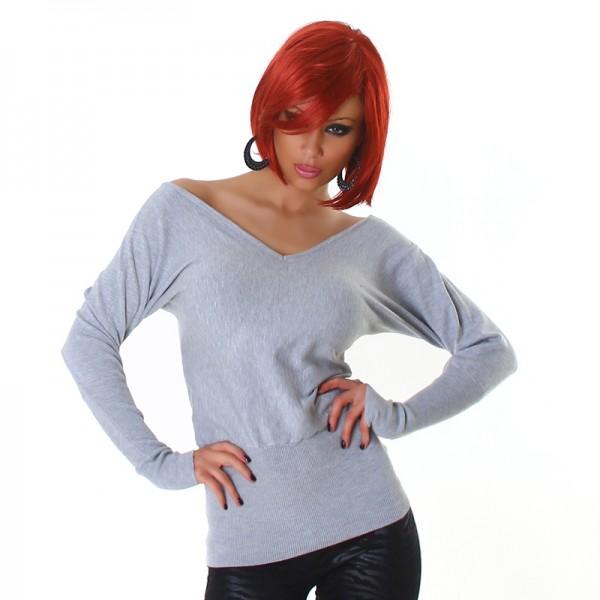 Süßer schulterfreier Off Shoulder Pullover mit Schleifen rückenfrei in grau
