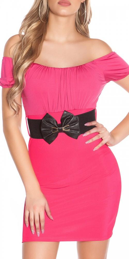 Sexy Minikleid mit Carmen-Ausschnitt und Gürtel in pink