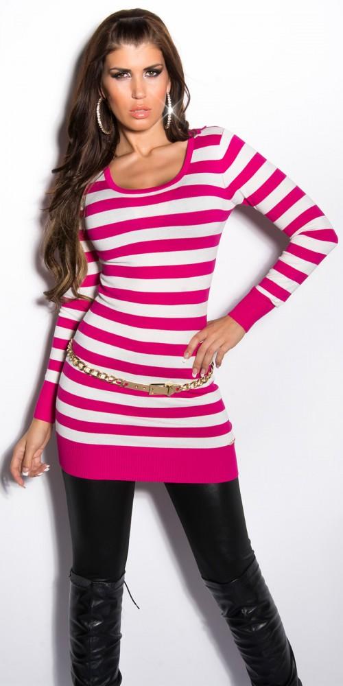 Sexy KouCla Longpulli Strickkleid mit Streifen und Spitze in pink