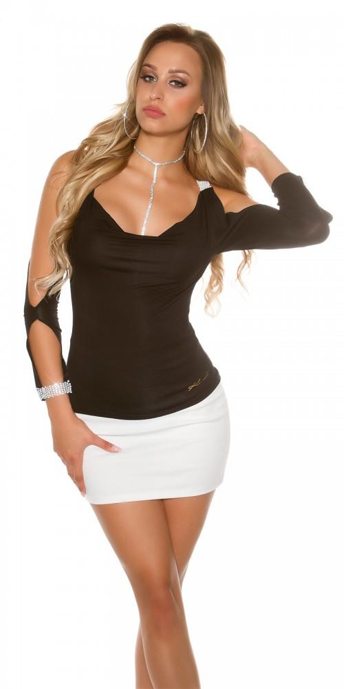 Sexy Longsleeve Shirt mit offenen Ärmeln und Strass in schwarz