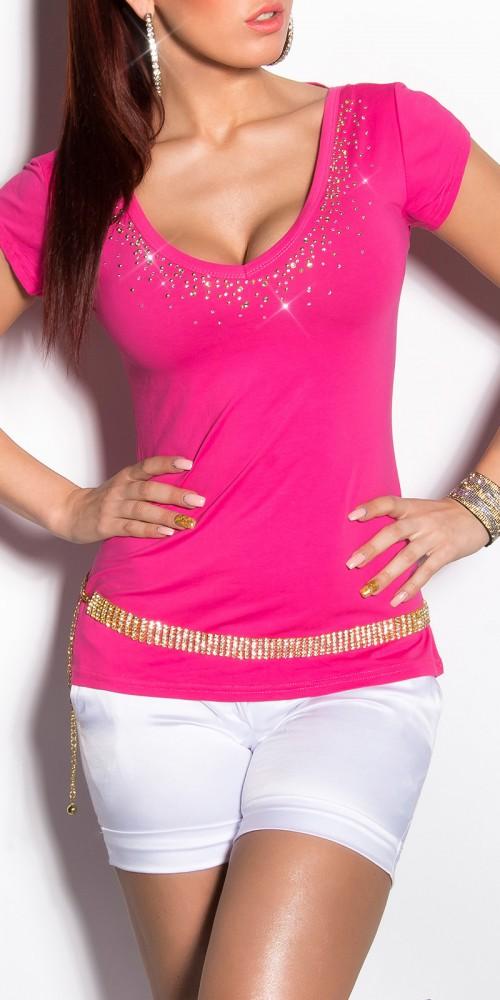Sexy KouCla Shirt mit Schleifen am Rücken und Strass in pink