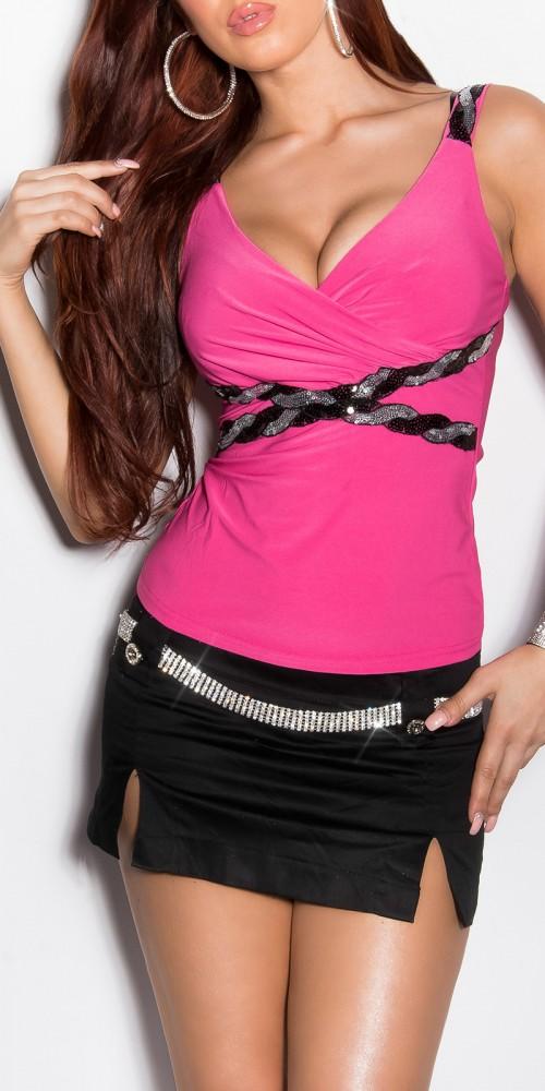 Träger Top mit Pailletten und V-Ausschnitt Wickeloptik in pink