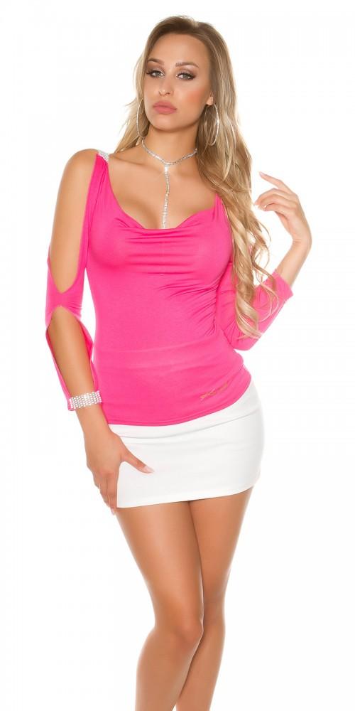 Sexy Longsleeve Shirt mit offenen Ärmeln und Strass in pink