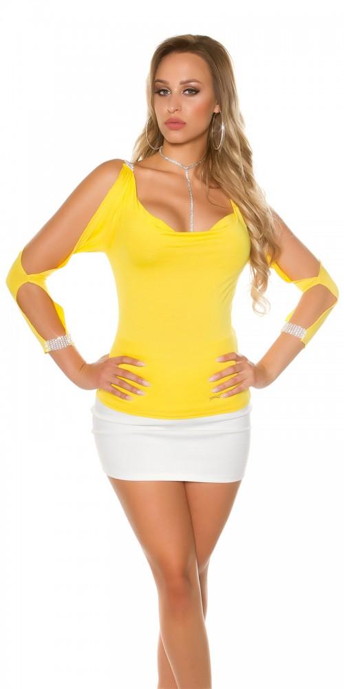 Sexy Longsleeve Shirt mit offenen Ärmeln und Strass in gelb