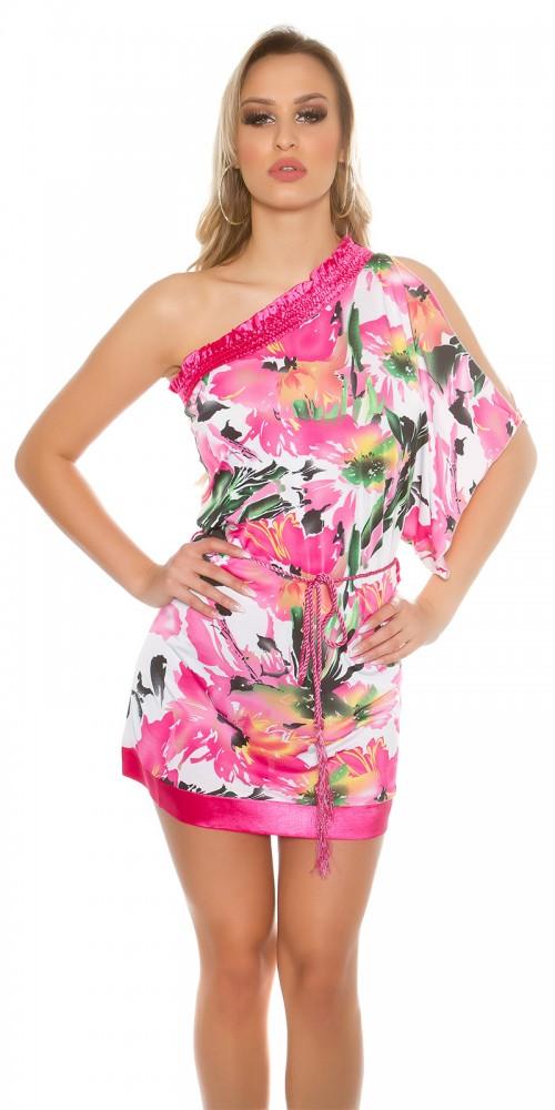 Sexy One-Arm Off Shoulder Minikleid mit Blumenprint in pink