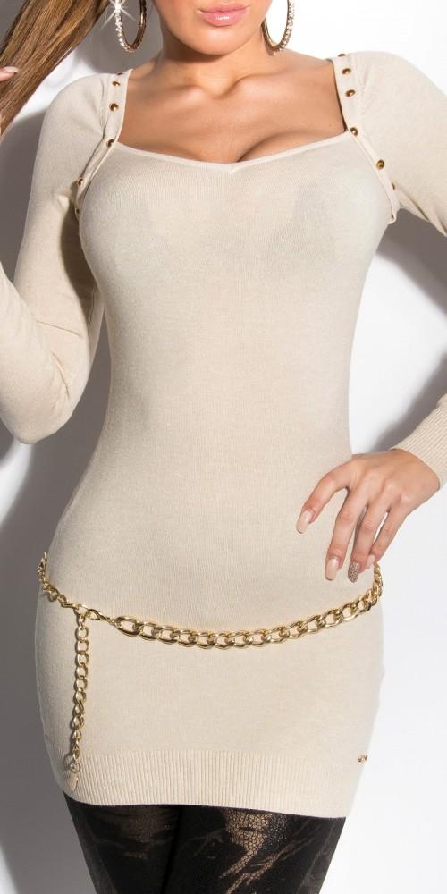 Sexy KouCla Longpullover Bolero Strickkleid mit Nieten in beige
