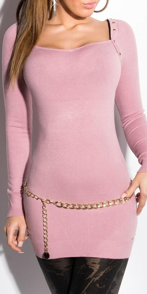 Sexy KouCla Longpullover Bolero Strickkleid mit Nieten in rosa