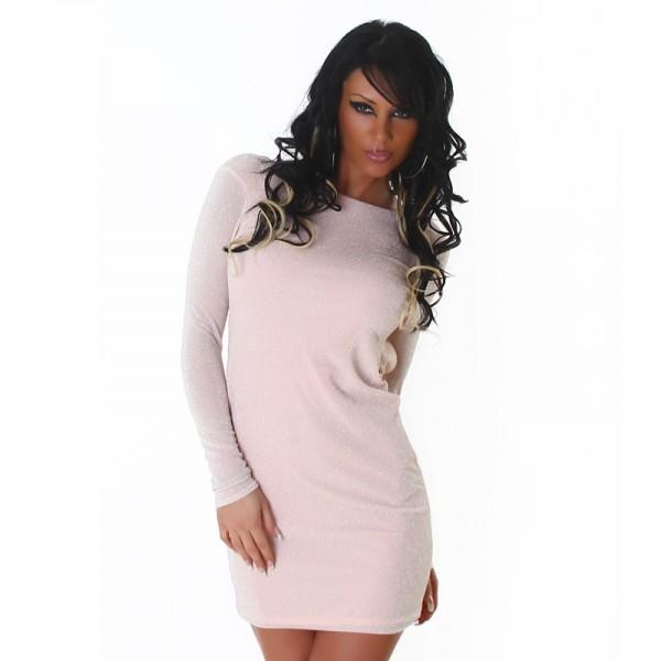 Sexy Glitzerkleid Minikleid rückenfrei in rosa
