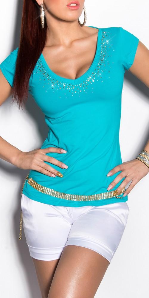Sexy KouCla Shirt mit Schleifen am Rücken und Strass in türkis