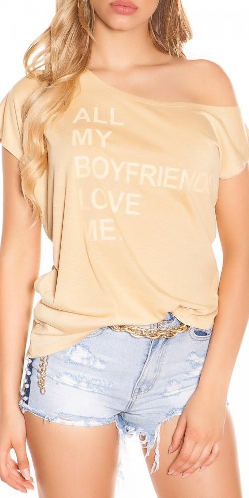 Trendy Koucla Shirt One Shoulder schulterfrei in beige