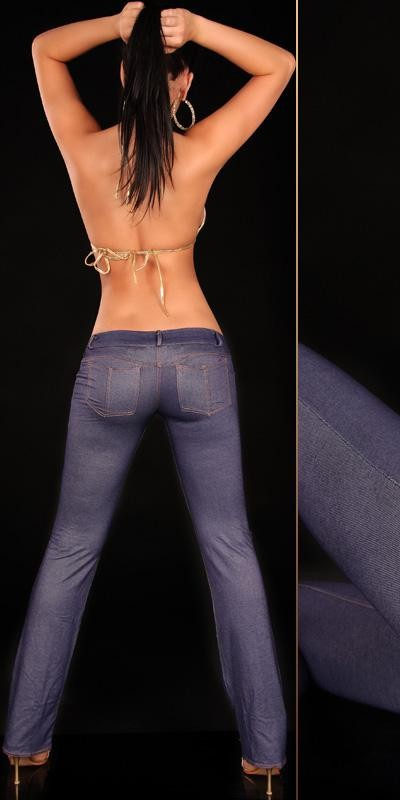Sexy Jeggings mit Po-Taschen und Schlag Hüfthose in blau
