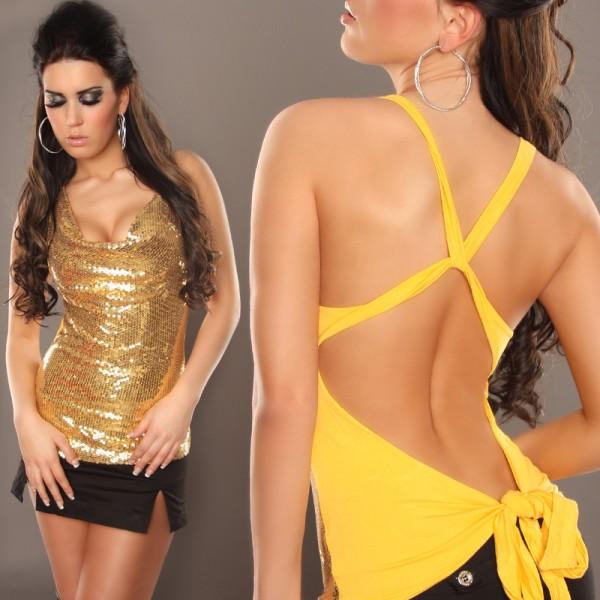 Sexy Neckholder Top mit Pailletten, rückenfrei in gelb