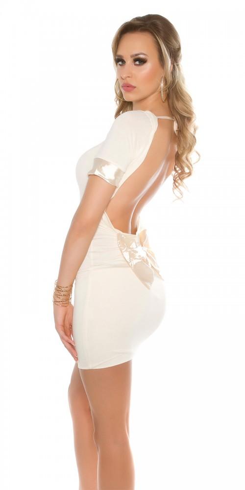 Sexy Minikleid mit Schleife, rückenfrei in beige