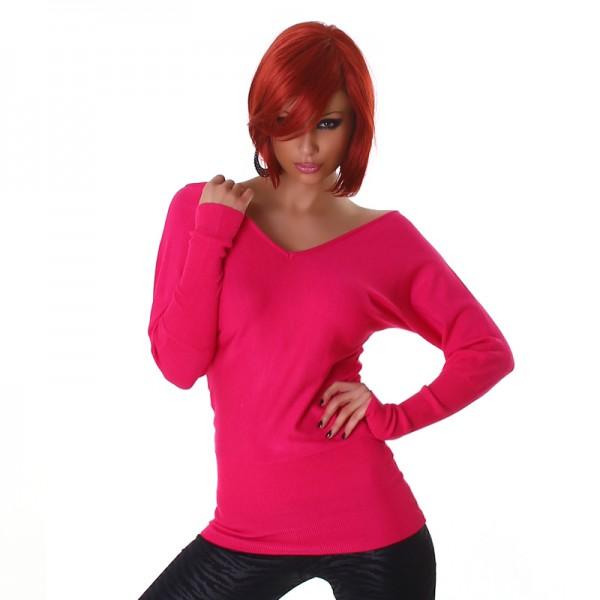 Süßer schulterfreier Off Shoulder Pullover mit Schleifen rückenfrei in pink