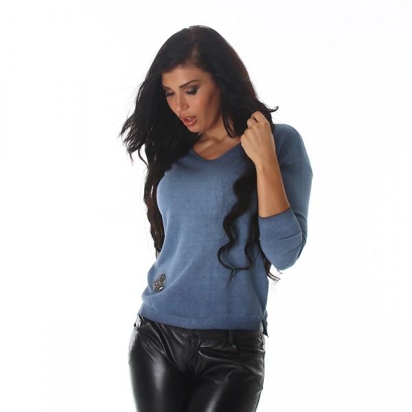 Süße kuschliger Pullover mit Strass Herz in blau