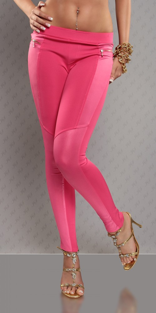 Sexy Treggings Stoffhose im Lederlook mit Zip in pink