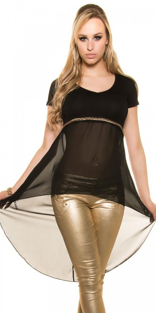 KouCla High Low Chiffon Shirt Longshirt Tunika mit Kette in schwarz