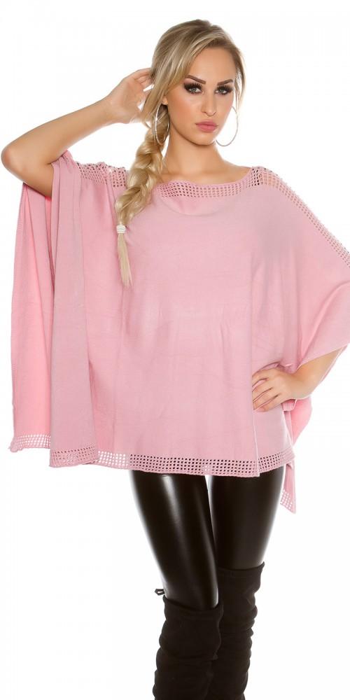 Trendy KouCla Feinstrick Poncho mit Strasssteinen in rosa