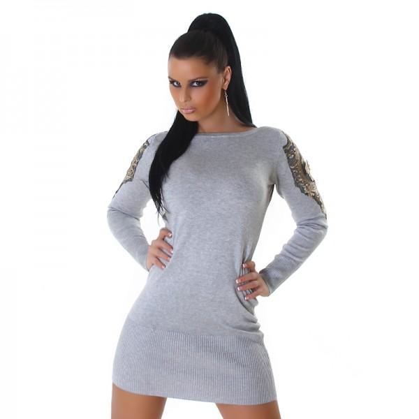 Sexy Feinstrick Strickkleid Minikleid mit Spitze an den Ärmeln in grau