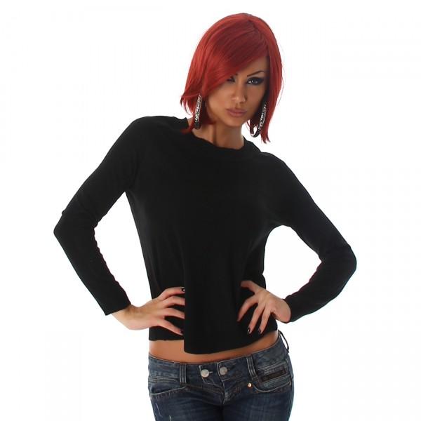 Weicher kurzer Pullover in schwarz