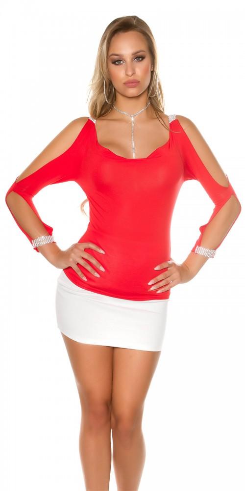 Sexy Longsleeve Shirt mit offenen Ärmeln und Strass in rot