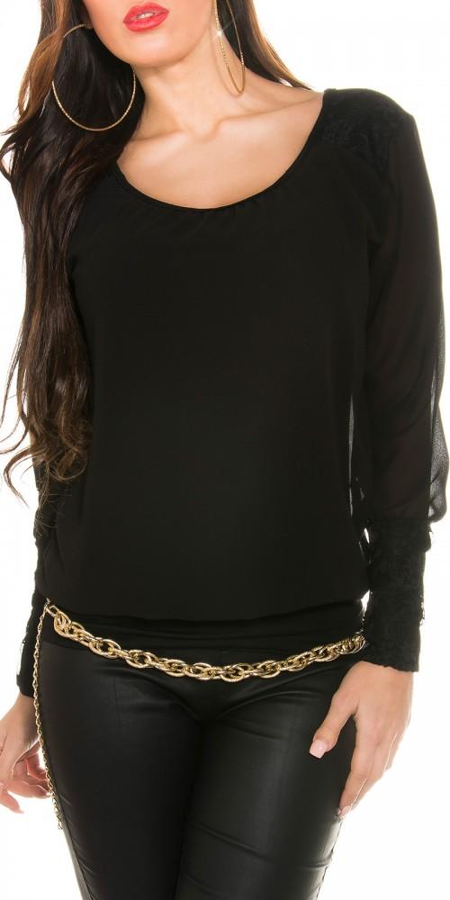 KouCla Chiffon Bluse mit Spitze in schwarz