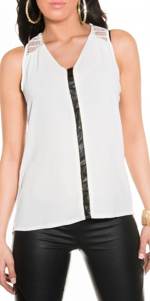 Luftige Sommer Crinkle Chiffon Bluse Top Träger in weiss