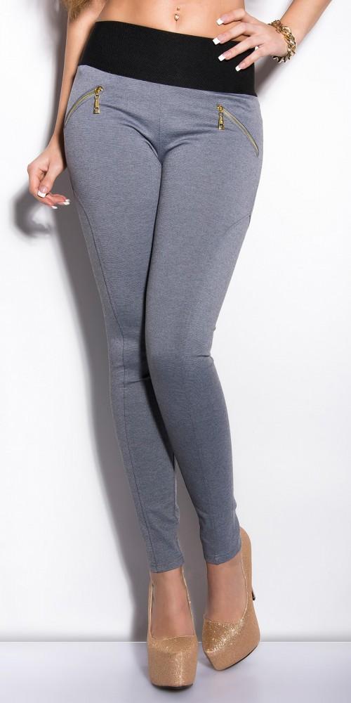 Sexy KouCla Treggings mit Zips und breitem Bund in grau