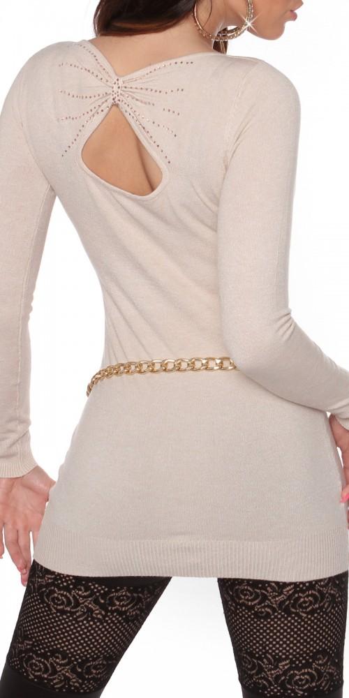 Sexy KouCla Longpulli Strickkleid mit Rücken-Ausschnitt in beige