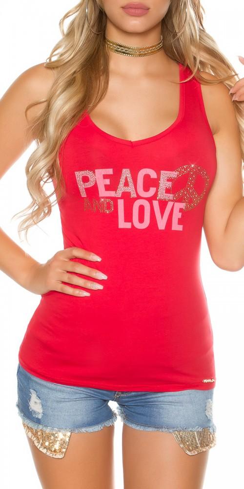 Trendy KouCla Tanktop Peace and Love mit Schleifen am Rücken in rot