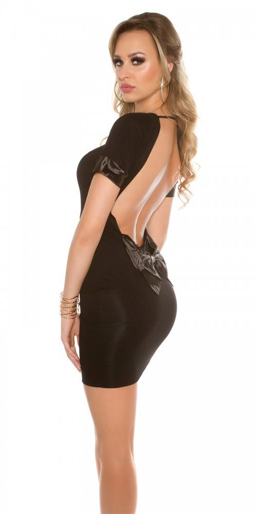 Sexy Minikleid mit Schleife, rückenfrei in schwarz