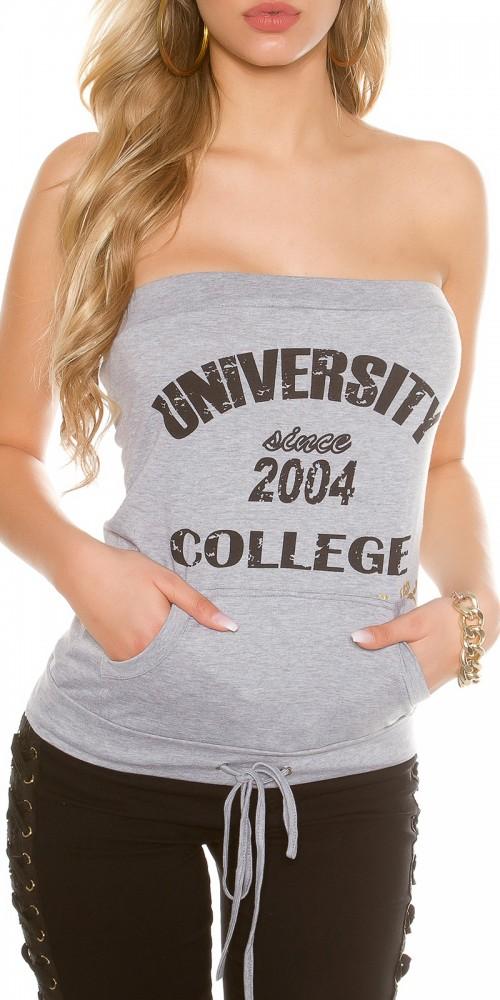 """Sexy KouCla Sweat Bandeautop """"University"""" in grau"""