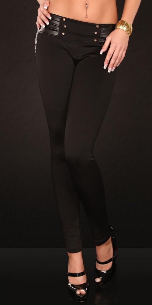 Sexy Treggings Hose Hüfthose mit Lederlook und Knöpfen in schwarz