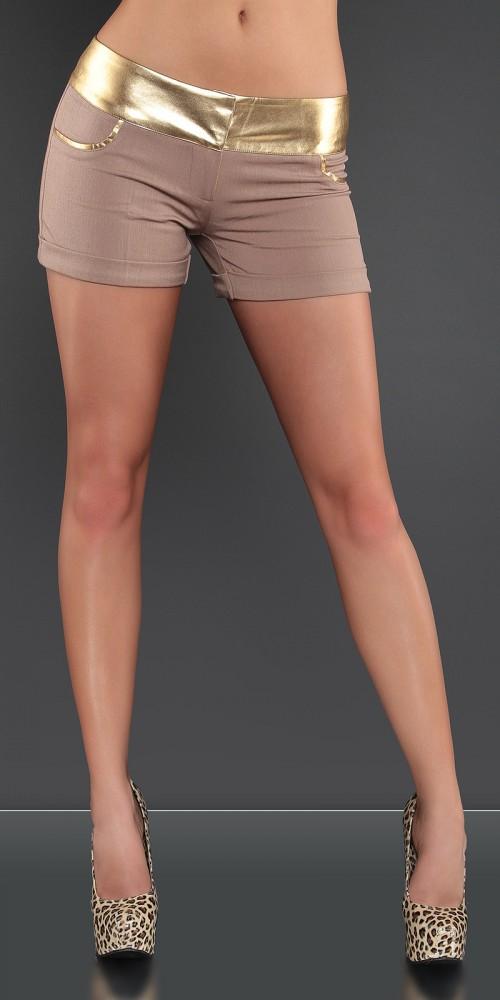 Sexy KouCla Hotpants kurze Hose mit Goldbund in braun