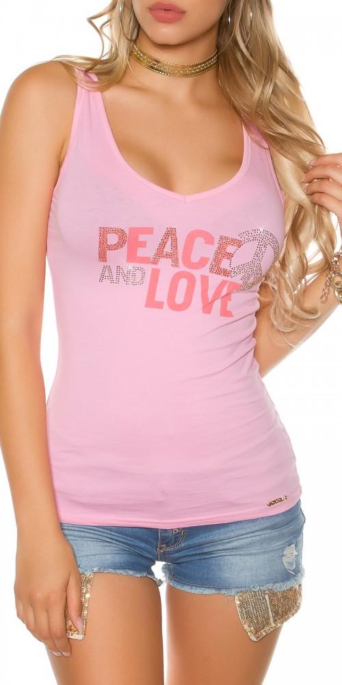 Trendy KouCla Tanktop Peace and Love mit Schleifen am Rücken in rosa
