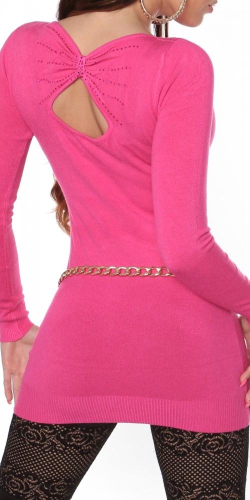Sexy KouCla Longpulli Strickkleid mit Rücken-Ausschnitt in pink