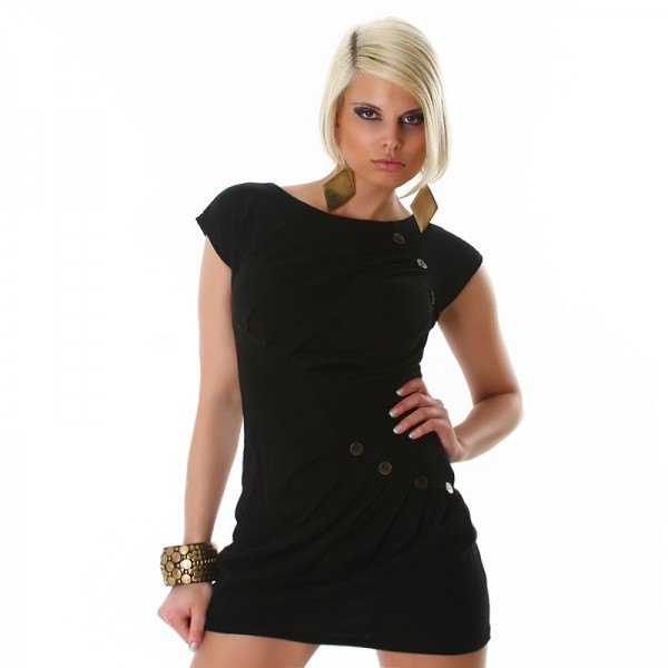 Sexy Longpulli Minikleid mit Raffung in schwarz
