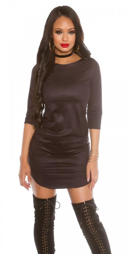 KouCla 3/4 Arm Kleid im Samtlook in schwarz